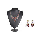 Luxury Wedding Banquet Jewelry Sets Diamond Multicolor Flower Earrings & Bridal AAA Zircon Statement Necklace
