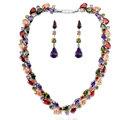 Luxury Wedding Banquet Jewelry Sets Diamond Multicolor Water-drop Earrings & Bridal AAA Zircon Statement Necklace