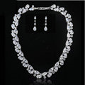 Luxury Wedding Banquet Jewelry Sets Diamond Water-drop Earrings & Bridal AAA Zircon Statement Necklace