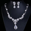 Luxury Wedding Banquet Jewelry Sets Diamond Water-drop Flower Earrings & Bridal Zircon Statement Necklace
