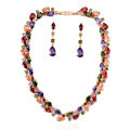 Luxury Wedding Banquet Jewelry Sets Multicolor Rose Gold Water-drop Earrings & Bridal Zircon Statement Necklace