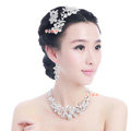 Luxury Wedding Bridal Accessories Butterfly Flower Crystal Necklace Earrings Tiara Sets