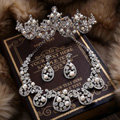 Luxury Wedding Bridal Accessories Pearl Crystal Necklace Earrings Tiara Sets