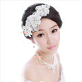 Luxury Wedding Bridal Accessories Pearl Lace Flower Crystal Tiara Necklace Earrings Sets
