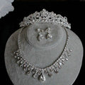 Luxury Wedding Bridal Jewelry Top quality Water drops Crystal Tiara Necklace Earrings Sets