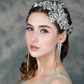 Luxury Wedding Headdress Jewelry Lace Flower Crystal Beads Bridal Headband Hair Accessories