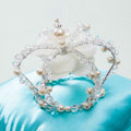 Luxury Wedding Jewelry Crystal Beads small Ring Pearl Tiaras Bridal Rhinestone Crown Hair Accessories