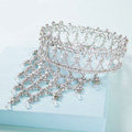 Luxury Wedding Jewelry Crystal Large Ring Tassel Tiaras Bridal Rhinestone Crown Hair Accessories