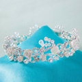 Luxury Wedding Jewelry Flower Pearl Crystal Beads Large Ring Tiaras Bridal Rhinestone Crown Hair Accessories