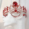 Luxury Wedding Jewelry Flower Red Crystal Large Tassel Tiaras Bridal Rhinestone Crown Hair Accessories