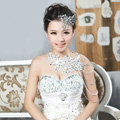 Luxury Wedding Jewelry Sets Crystal Flower Tiara & Earrings & Bridal Lace Necklace Shoulder Accessories