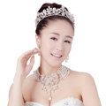 Luxury Wedding Jewelry Sets Crystal Hollow Flower Tiara & Earrings & Bridal Multilayer Pearl Necklace