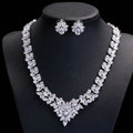Luxury Wedding Jewelry Sets Including 1 Pair Flower Stud Earrings & Bridal Zircon Statement Necklace