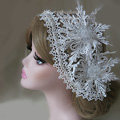 New High Quality Mesh Hairwear Crystal beads Lace Flower Bridal Hair Headband Wedding Hair Accessories