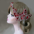 New Unique Crystal Tassel Hairwear Bridal Red Lace Butterfly Hair Headband Wedding Hair Accessories
