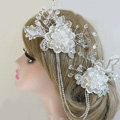 New Unique Crystal beads Hairwear Bridal Lace Flower Hair Headband Wedding Hair Accessories