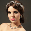Retro Wedding Jewelry Flower Pearl Crystal Beads Tiaras Bridal Rhinestone Hair Headband Accessories