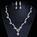 Simple Banquet Wedding Jewelry Sets Water-drop Flower Diamond Earrings & Bridal Zircon Necklace