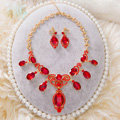 Simple Retro Wedding Jewelry Sets Red Crystal Earrings & Bridal Statement Necklace