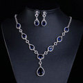 Top quality Banquet Wedding Jewelry Sets Water-drop Blue Diamond Earrings & Bridal Zircon Necklace