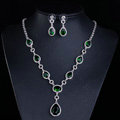Top quality Banquet Wedding Jewelry Sets Water-drop Green Diamond Earrings & Bridal Zircon Necklace