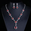 Top quality Banquet Wedding Jewelry Sets Water-drop Red Diamond Earrings & Bridal Zircon Necklace