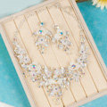 Unique Fashion Wedding Jewelry Sets AB Crystal Floral Earrings & Bridal Rhinestone Necklace