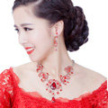 Unique Fashion Wedding Jewelry Sets Red Crystal Flower Earrings & Bridal Tassel Rhinestone Necklace