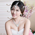 Unique Wedding Jewelry Sets Flower Crystal Headdress Tiara & Earrings & Bridal Rhinestone Necklace
