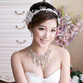 Unique Wedding Jewelry Sets Pearl Flower Crystal Lace Headdress & Earrings & Bridal Rhinestone Necklace