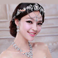Bridal Wedding Alloy Flower Rhinestone Crystal Tassel Tiaras Crown Headband Hair Accessories