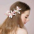 Bridal Wedding Forest girl Cloth Floral Hoop Rhinestone Crystal Bride Headband Hair Clip Accessories