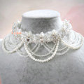 Elegant Bridal Wedding Tassel Pearl Rhinestone Lace Flower Crystal Pearls Necklace Jewellery