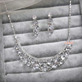 Elegant Bride Wedding Alloy Square Clear Rhinestone Crystal Necklace Earrings Set Bridal Party Gift