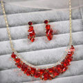 Elegant Bride Wedding Alloy Square Red Rhinestone Crystal Necklace Earrings Set Bridal Party Gift