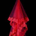 Elegant Cathedral 300cm Long Handmade Red Lace Flower Bridal Wedding Veil Bride Deco