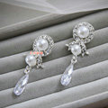 Elegant High Quality Wedding Jewelry Pearl Crystal Bridal Pendant Earrings Accessories