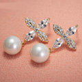 Elegant Wedding Bridal Europe Gold Clovers Pearl Zircon Eardrop Earrings Woman Jewelry