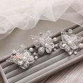Elegant Wedding Hair Clip Jewelry By hand 3 Piece Pearl Crystal Flower Bridal Hair Pin Accessories