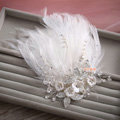 Elegant Wedding Hair Clip Jewelry By hand Crystal Beads Flower Feather Bridal Hair Pin Accessories