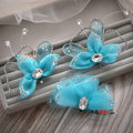 Elegant Wedding Hair Clip Jewelry By hand Crystal Blue Tulle Flower Bridal Hair Pin Accessories