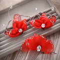 Elegant Wedding Hair Clip Jewelry By hand Crystal Red Tulle Flower Bridal Hair Pin Accessories