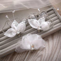 Elegant Wedding Hair Clip Jewelry By hand Crystal White Tulle Flower Bridal Hair Pin Accessories