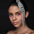 Elegant Wedding Headdress Crystal Flower Rhinestone Tassel Bridal Headband Hair Accessories