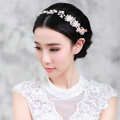 Elegant Wedding Headdress Pearl Flower Crystal Rhinestone Bridal Headband Hair Comb Accessories