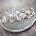 Elegant Wedding Headdress Porcelain Flower Crystal Rhinestone Bridal Headband Hair Accessories