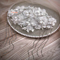 Elegant Wedding Headdress Rhinestone By hand Lace Flower Tassel Bridal Headband Hair Accessories