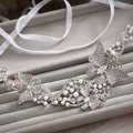 Elegant Wedding Headdress Rhinestone Crystal Pearl Butterfly Bridal Headband Ribbon Hair Accessories