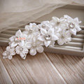 Elegant Wedding Headdress White Rhinestone By hand Lace Flower Bridal Headband Hair Accessories