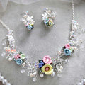 Elegant Wedding Jewellery Colour Porcelain Flower Crystal Rhinestone Bridal Necklace Earrings Sets